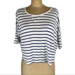 3/$25 Wilfred Slouchy White and Blue Stripe Tee